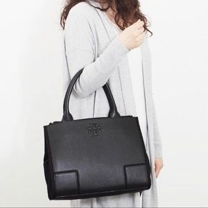 Tory Burch Ella Leather /Canvas laptop Black Bag